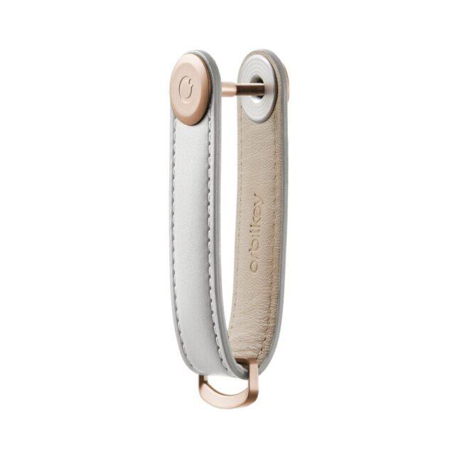 orbitkey lædernøglering i stone / grey syninger