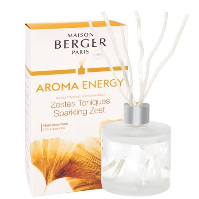 Aroma Energy Sparkling zest flakon med duftpinde Bouquet fra Maison Berger - byHviid