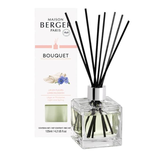 Linen Blossom Flakon m. Duftpinde Bouquet fra Maison Berger - byHviid